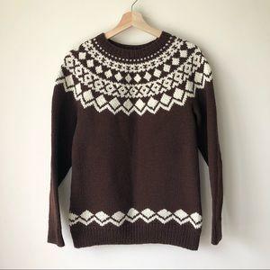 Vintage Women's Handknit Brown Fairisle Sweater S